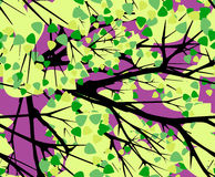 树冠在一个紫色背景无缝的传染媒介样式的 免版税库存图片