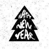 树剪影与字法文本新年快乐的在白色背景与飞溅 免版税库存照片