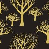树剪影无缝的背景  库存照片