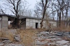 树包围的被放弃的房子 免版税库存照片