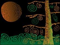 树和月亮 图库摄影