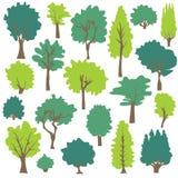 树和杉木剪贴美术 免版税库存照片