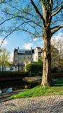 树和民用房子在Copenaghen附近的Lyngby 免版税库存照片