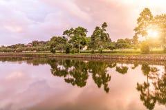 树和河的平静,在落日下 免版税库存图片