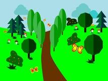 树和灌木之间的道路与振翼的蝴蝶 免版税库存图片
