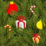 树和礼物无缝的样式分支  库存照片