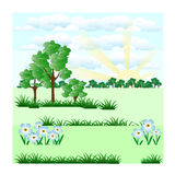 树和蓝色花反对天空 免版税库存照片