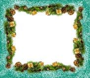 树和锥体圣诞节框架  免版税图库摄影