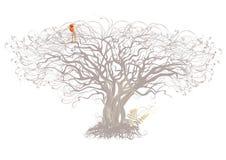 树和鸟在白色背景 免版税库存图片