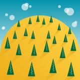 树和黄色山天空 免版税图库摄影