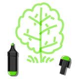 树和绿色标志 免版税图库摄影