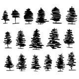 树图表手拉的传染媒介板刻乱画剪影 图库摄影