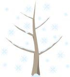 树在与雪的冬天 库存例证