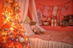 树在圣诞节的托儿所 库存照片
