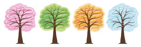 树在明亮的颜色的四个季节反弹夏天秋天冬天 皇族释放例证