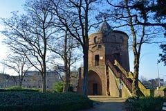 树在阳光下围拢的中世纪塔 库存图片