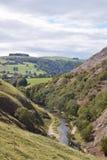 树在高峰区国立公园,英国排行了小山和连续小河 小山在与上面云彩的背景中 库存图片