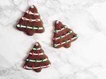 树型姜饼曲奇饼冰了,装饰用圣诞节的糖果 库存图片