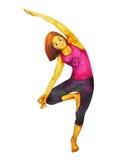 树姿势瑜伽, Vriksasana位置姿势,手拉的水彩绘画 免版税图库摄影