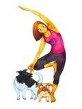 树姿势瑜伽, Vriksasana位置姿势,手拉的水彩绘画 免版税库存图片