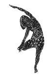 树姿势瑜伽, Vriksasana瑜伽位置姿势,手拉的传染媒介 免版税库存照片