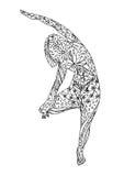 树姿势瑜伽, Vriksasana瑜伽位置姿势,手拉的传染媒介 免版税库存图片