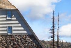树带界线小屋和两根断枝的部分 库存照片