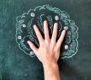 树手工制造黑板图画 免版税图库摄影