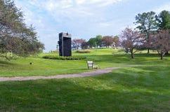 树木园雕塑庭院和走道 库存图片