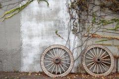 树木繁茂的推车马车车轮 库存照片