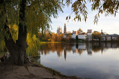 树构筑的Novodevichy女修道院在金黄秋天晚上 图库摄影