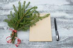 树枝和笔记薄在木背景 库存照片