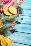 树枝用桔子,桂香 免版税库存照片