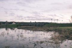 树枝的反射在秋天上色了水的葡萄酒r 库存图片