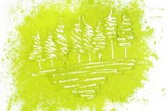 树用搽粉的绿茶 免版税库存图片