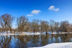 树的反射在冬天河的晴天 33c 1月横向俄国温度ural冬天 免版税图库摄影