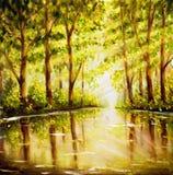树的反射在wateк -河的在森林里-在帆布的原始的油画 免版税库存照片