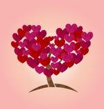 树的概念与心脏的在情人节离开 向量例证