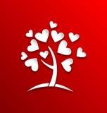树的概念与心脏的离开,纸裁减样式 向量例证