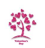 树的概念与闪烁心脏叶子的为情人节 库存例证