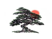 树盆景,黑白,画图铅笔 免版税库存图片