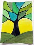树绘与水彩 免版税库存图片