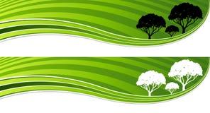 树绿色能量波浪横幅集合 库存图片