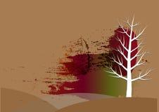 树背景,白色树纸削减了水彩背景,传染媒介例证 库存图片