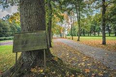 树胡同的图片有一个木标志的在入口 免版税库存照片