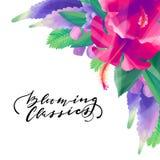 树胶水彩画颜料异乎寻常的花卉设计 免版税库存照片
