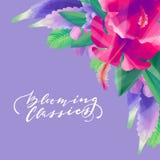 树胶水彩画颜料异乎寻常的花卉设计 库存图片