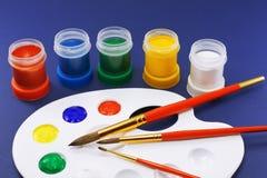 树胶水彩画颜料集合水彩 免版税库存照片
