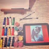 树胶水彩画颜料油漆 图库摄影