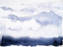 黑树荫背景水彩绘画手图画 免版税库存图片